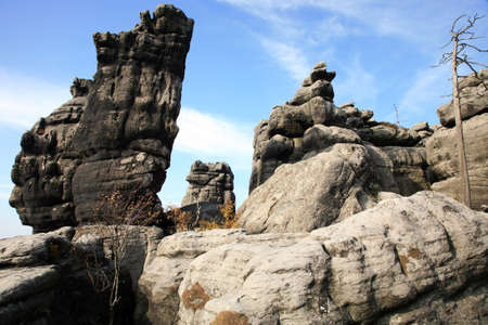 Phenomenon of nature – Stolowe ( Table ) Mountains – rock formations in National Park – Poland near Pasterka village. photo