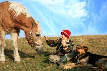 Dítě a jeho přátelé koně a psi. Šťastný život na venkově, pro rodiny