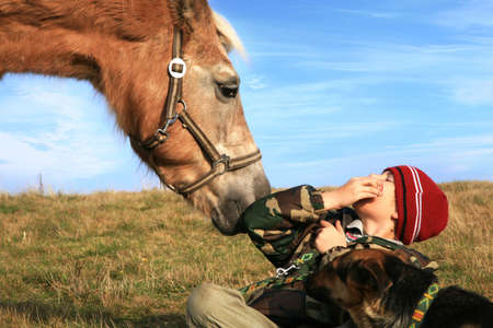 The child and his friends horse and dogs. Happy life in the countryside, the family Standard-Bild