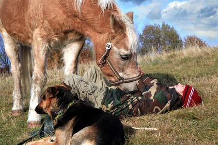 Dítě a jeho kamarádi koně a psi. Šťastný život na venkově, rodina Reklamní fotografie
