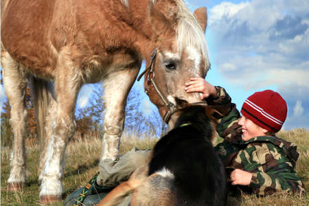 The child and his friends horse and dogs. Happy life in the countryside, the family photo