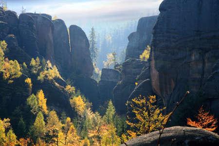 sudeten: Phenomenon of nature Stolowe   Table   Mountains rock formations Czech Republic