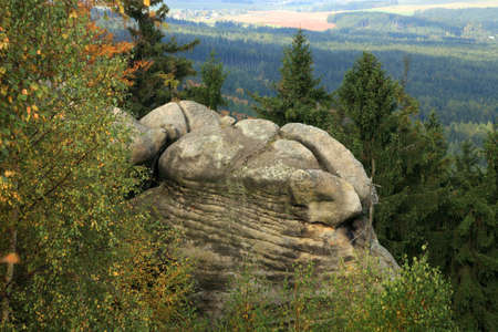 rock formations: Unusual rock formations in the Table Mountains in the Czech Republic - stone turtles Stock Photo