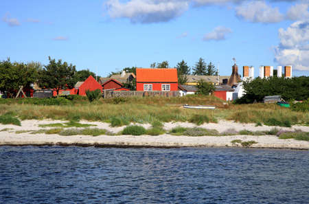Typical red Scandinavian house on coastline in Snogebaek, early morning and violet flowers on dunes -  Bornholm, Denmark photo
