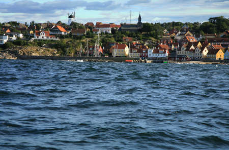 Gudhjem panorama, old, picturesque town on Bornholm Island, Denmark