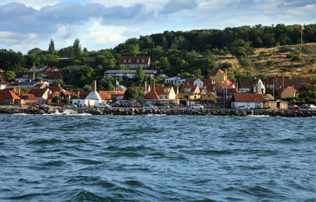 Gudhjem panorama, old, picturesque town on Bornholm Island, Denmark photo