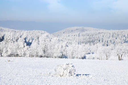 gory: Colline Panorama invernale di Gory Stolowe Table Mountains in Polonia Archivio Fotografico