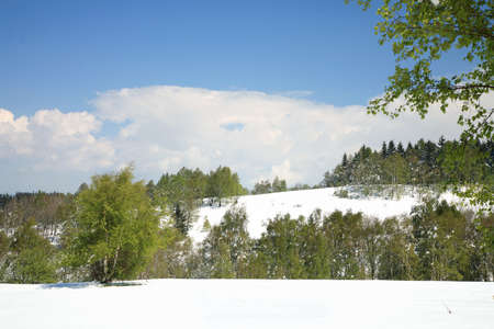 Weather anomalies  Snow in May  Winter in spring  Stock Photo - 27625701