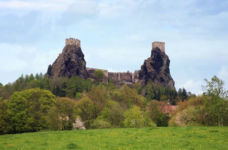 Ruins of gothic castle Trosky in Czech Republic photo
