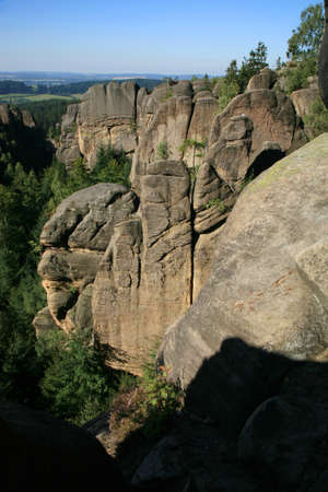 Phenomenon of nature, Stolowe ( Table ) Mountains. Famous rock formations in Czech Republic called Divadlo ( Theatre )