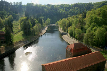 Hydroelectric power plant and dam on Bobr River in Pilchowice, Poland. Technical monument and tourist attraction. Stock Photo