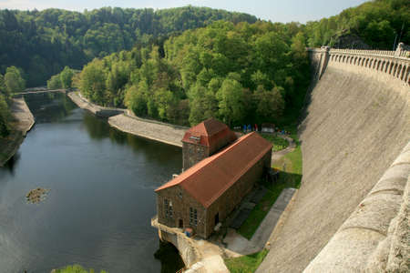 Hydroelectric power plant and dam on Bobr River in Pilchowice, Poland. Technical monument and tourist attraction.