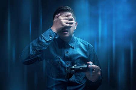 Man losing playing video game