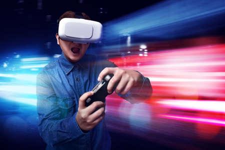 Man playing video games wearing vr headset