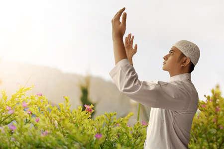 trust god: Muslim man praying