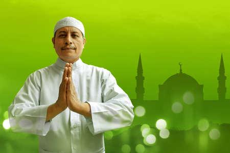 trust god: Old muslim man smiling