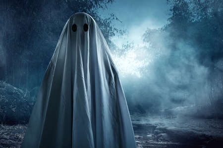 Ghost with white cloth 免版税图像