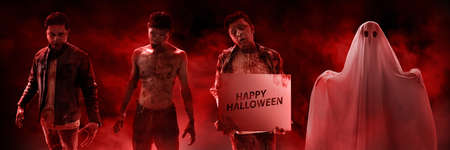 Set of scary halloween costumes