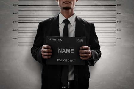 Mugshot of criminal Stockfoto