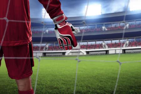 Soccer goalkeeper gloves Imagens