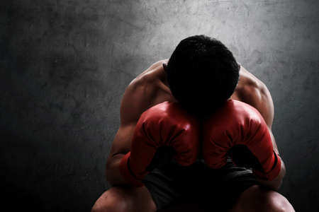 Muscular boxer resting