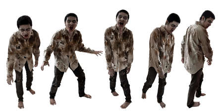 Set of zombies isolated on white background