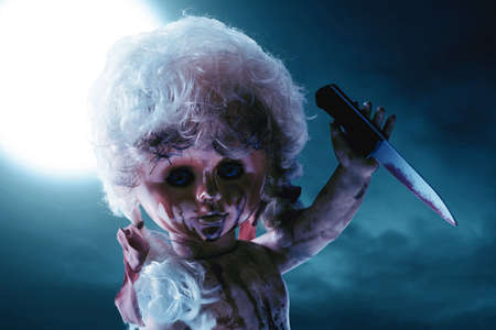 Scary bloody doll Imagens