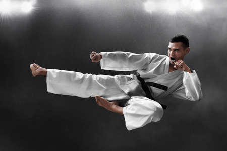 Martial arts karate kick Stock Photo
