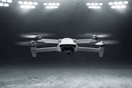 Drone quadcopter with digital camera flying