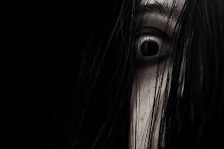 Close up of scary ghost woman eye