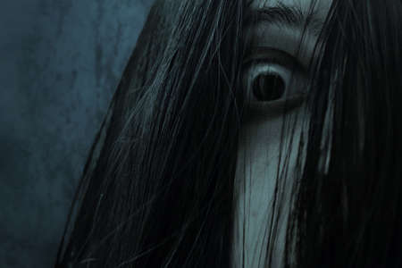 Close up of eye scary ghost woman