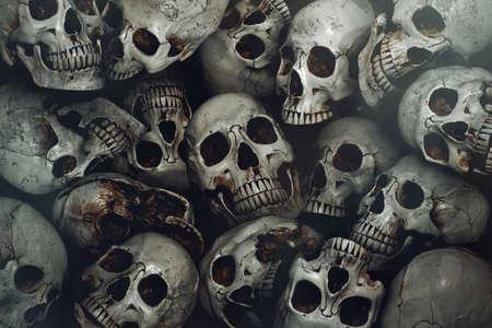 Pile of human skull background Reklamní fotografie