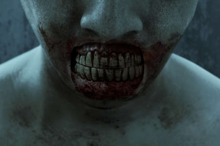 Close up of zombie mouth