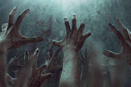 Manos sangrientas de zombies, tema halooween