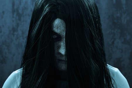 Scary ghost woman on dark background Reklamní fotografie