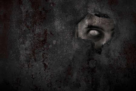 Scary zombie man eye peeking Reklamní fotografie