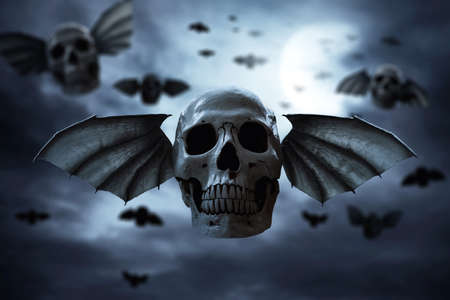 Skull with wings, halloween theme