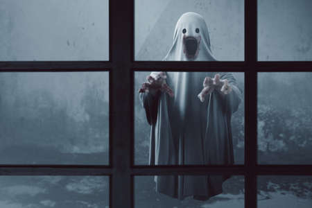 Scary ghost in haunted house