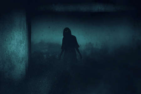 Scary ghost woman on dark background Imagens