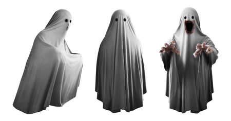 Set of ghost isolated on white background
