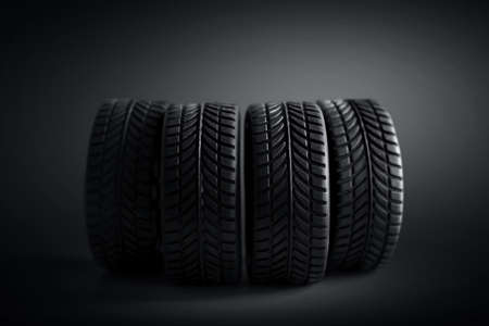 Car tires isolated on black background 免版税图像