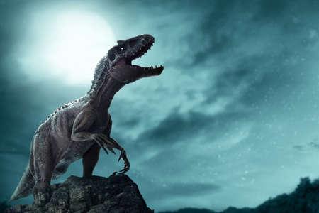 Dinosaur, Tyrannosaurus Rex destroyed city 免版税图像