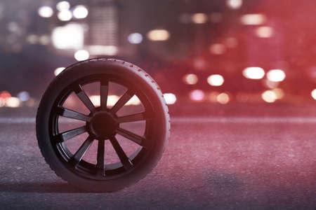 Car tires on the street 免版税图像