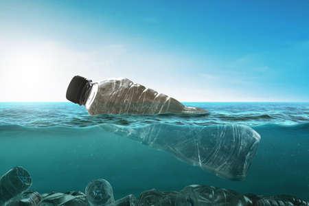 Plastic bottles in garbage bag