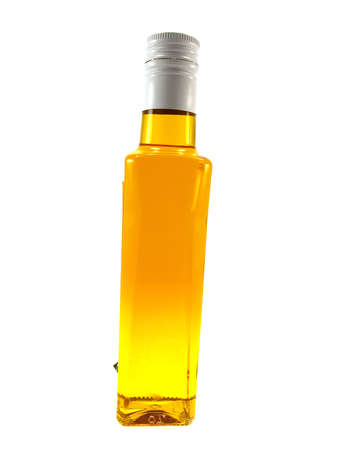 unopen: Bottle with yellow oil isolated on a white background