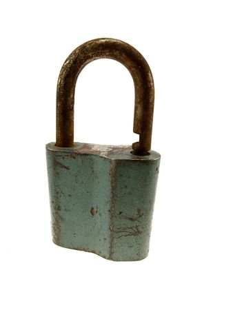oxidize: The hinged lock isolated on a white background