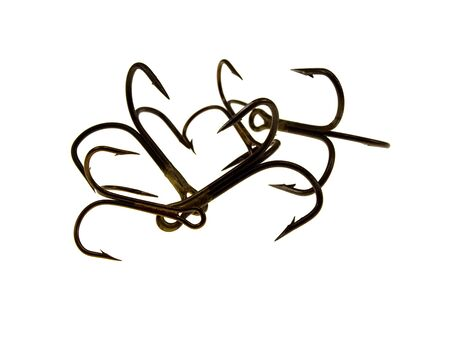 rapala: A little old a grey fishing hook isolated on a white background