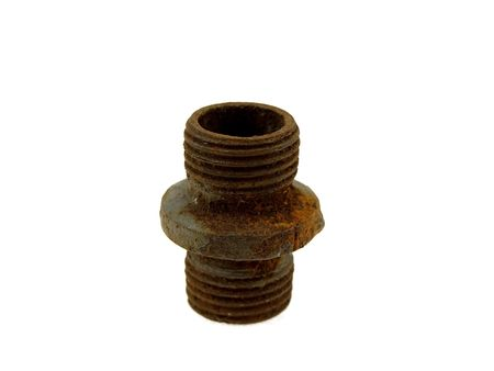 Old rusty steel pipe isolated on a white background photo