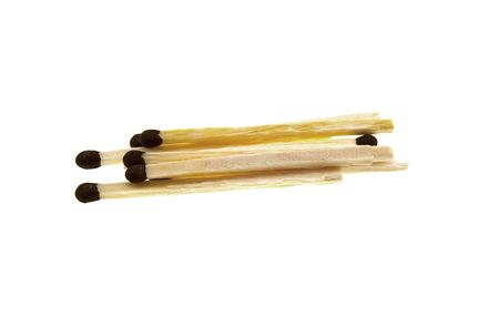 Some matches with a brown head isolated on a white background photo