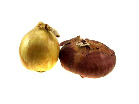 pealing: Two onions isolated on a white background